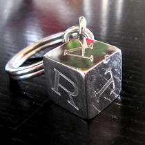 Authentic  Cartier Silver Tone Cube Key Ring  Photo