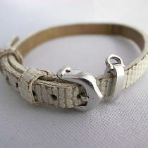 Authentic Cartier White Lizard Leather Bracelet 18k Wg  Buckle and Charm Clasp Photo