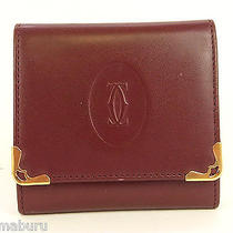 Authentic Cartier Wine Red Genuine Leather Coin Case Purse Photo