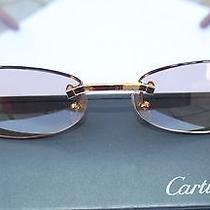 Authentic Cartier Women's Rimless Wood/ Gold Sunglasses Photo