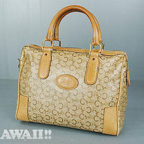 Authentic Celine Beige Pvc / Beige Leather Hand Bag Photo