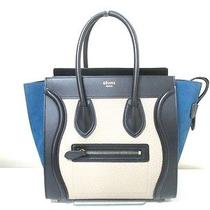 Authentic Celine Black Blue Beige Luggage Micro Shopper Leather Nubuck Tote Bag Photo