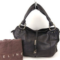 Authentic Celine Black Leather Hand Bag Purse W/dust Bag Photo