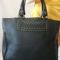 Authentic Celine Black Leather Studded Handbag Tote Photo