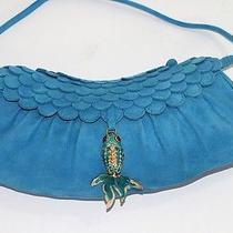 Authentic Celine Blue Suede Scaled Detail Fish Charm Bag  Photo