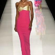 Authentic Celine by Michael Kors Pink Gold Runway Strapless Column Gown Dress 38 Photo