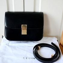 Authentic Celine Classic Box Black Calfskin Bag Photo