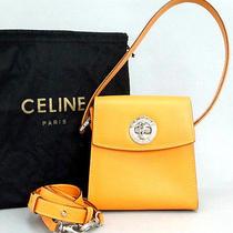 Authentic Celine Coral Orange Leather 2way Small Handbag Italy W/strap Dust Bag Photo