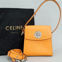 Authentic Celine Coral Orange Leather Small 2way Handbag Italy W/strap Dust Bag Photo