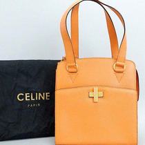 Authentic Celine Coral Orange Leather Small Tote Handbag Italy Vintage Dust Bag Photo