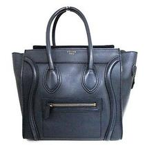 Authentic Celine Dark Navy Luggage Micro Shopper 167793hsc.070c Leather Tote Bag Photo