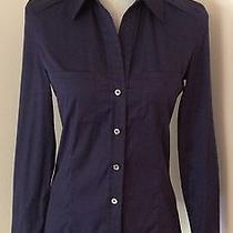 Authentic Celine Fitted Navy Cotton Blouse With Mother of Pearl Buttons-Size 36 Photo