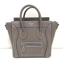 Authentic Celine Gray Beige (Souris) Luggage Nano Shopper Drummed Calf Handbag Photo