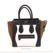 Authentic Celine leather&suede Tricolore Luggage Micro Shopper Tote Bag 4294 Photo