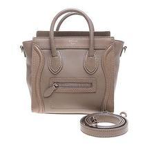 Authentic Celine Light Brown Calfskin Nano Luggage Handbag Photo