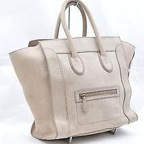 Authentic Celine Luggage Mini Shopper Calf Leather Tote Bag Dune Ivory 23746 Photo