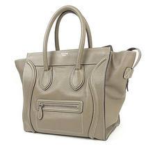 Authentic Celine Luggage Mini Shopper Hand Bag Etoupe(souris) 165213lug Used F/s Photo