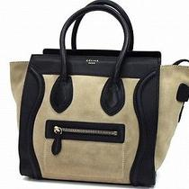 Authentic Celine Luggage Series Micro Shopper Tote Bag Suede Calf 16779 Photo