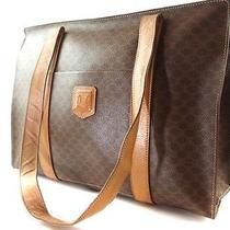 Authentic Celine Macadam Pvc Brown Leather Tote Shoulder Bag Made in Italy Photo