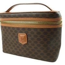 Authentic Celine Macadam Pvc Canvas Leather Brown Hand Bag / Vanity Bag Ch0617l Photo