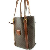 Authentic Celine Macadam Pvc Leather Brown Tote & Shoulder Bag Cs1196l Photo