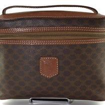 Authentic Celine Macadam Pvc Leather Brown Vanity Bag Ch2175l Photo