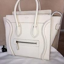 Authentic Celine Micro Luggage Bag in Ivory Goatskin Leather New 3.6k Photo