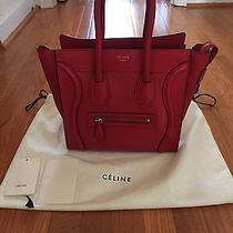 Authentic Celine Micro Luggage Tote in Coquelicot Red Drummed Calfskin Leather Photo