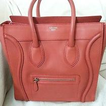 Authentic Celine Mini Luggage Tote Lipstick Red Leather Photo