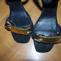 Authentic Celine Paris Chain Id Bracelet Black Suede Sandals 38 as Seen on Blogs Photo