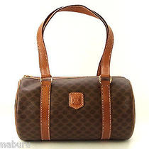 Authentic Celine Paris Macadam Brown Pvc / Leather Handbag Shoulder Bag Purse Photo
