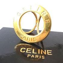 Authentic Celine Paris Scarf Ring Gold Tone W/box Accessory Photo
