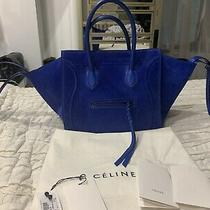 Authentic Celine Phantom Luggage Tote Blue Suede Leather Gorgeous Photo
