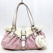 Authentic Celine Rabbit Fur Hand Bag Pink White 159312 Ladies Photo