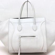 Authentic Celine Square Luggage Phantom Tote Bag Hand Bag White  Photo