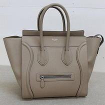 Authentic Celine Taupe Drummed Calfskin Mini Luggage Shopper Tote Handbag Photo