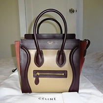Authentic Celine Tri-Color Leather/suede Micro Luggage Tote Bag Mint Condition Photo