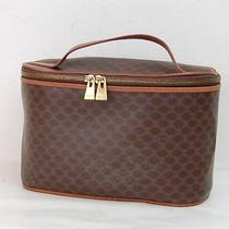 Authentic  Celine Vanity Bag  Made in Italy Browns Macadam Pvc 30518 Photo