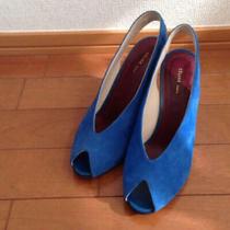 Authentic Celine Vintage Pumps Sandals Suede Size 36 Blue Photo