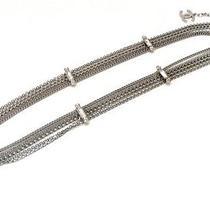 Authentic Chanel 08c  Coco Mark Rhinestone Chain Belt Silver Metal  Photo