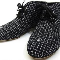 Authentic Chanel 15p Cc Mark Tweed Middle Cut Sneakers Shoes 37.5  Photo
