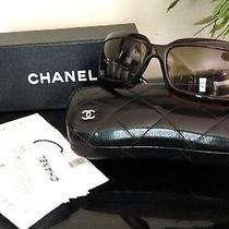 Authentic Chanel 5076h Logo Mother of Pearl Brown Tortoise Sunglasses Quilted Photo