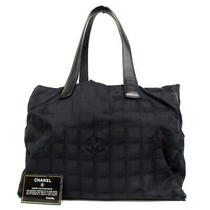 Authentic Chanel 7531034 New Travel Line Mm Tote Bag Nylon Jacquard/leather... Photo
