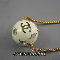 Authentic Chanel Ball Ornament Cc Logo Gold Plated Necklace Beautiful Condition Photo