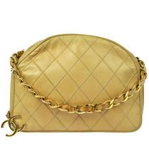 Authentic Chanel Beige Quilted Hand Bag Leather Cc Gold Chain Vintage C02663  Photo