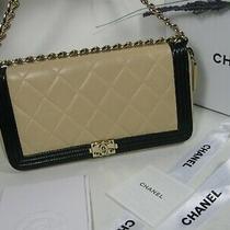 Authentic Chanel Bio Color Black Beige Lambskin Leather Cc Logo Boy Bag Clutch Photo