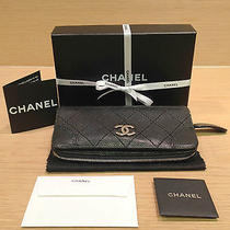 Authentic Chanel Black Caviar Leather Porte Bil Mon Wallet 94305 W/box Photo