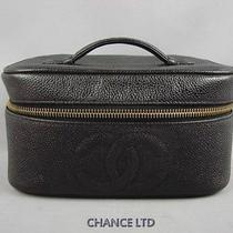 Authentic Chanel Black Caviar Skin Cosmetic Vanity Pouch Great Photo