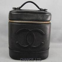 Authentic Chanel Black Caviar Skin Cosmetic Vanity Pouch Very Good Photo