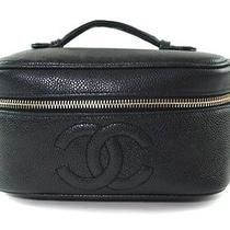Authentic Chanel Black Caviar Skin Leather Vanity Cosmetic Pouch Bag Cb5813l Photo